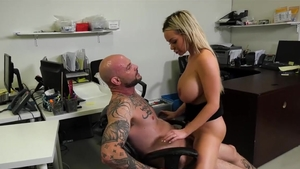 Doll Violet Myers wearing trousers hardcore sucking cock