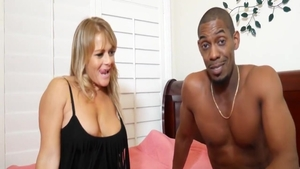 Romantic cumshot in company with large boobs blonde
