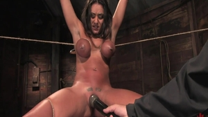 Huge tits babe Charley Chase feels the need for roped