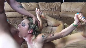 Handjob escorted by shaved caucasian pornstar