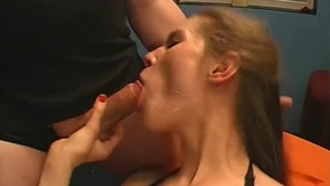 Receiving facial shaved german blonde haired in lingerie