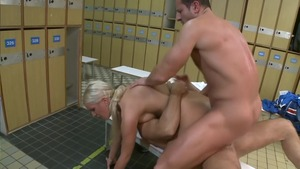Bald and skinny blonde babe rough threesome
