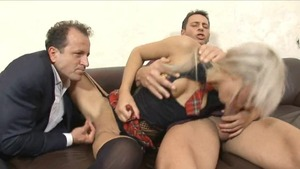 Blonde hair helps with threesome in stockings HD