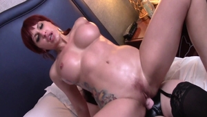 Large boobs Amber Michaels slapping threesome