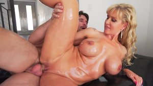 Huge tits & busty blonde babe Ryan Conner oil nailed hard