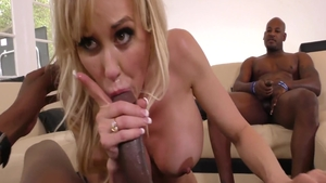 Plowing hard with Brandi Love in the company of Audrey Bitoni