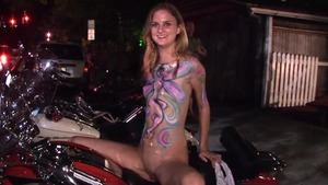 Shaved blonde babe got her pussy smashed in public