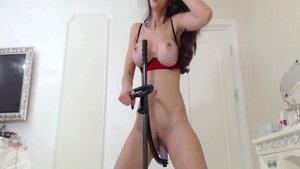 Busty babe toys action