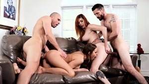 Hardcore group sex along with big boobs chick