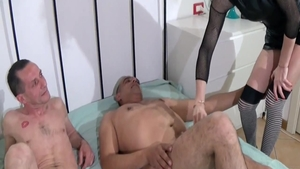 Gangbang in the company of big butt amateur
