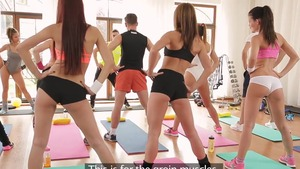 Inked & shaved teen Barbara Bieber group sex at the gym