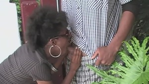 Shaved & hairy couple in boots homemade deepthroat in public