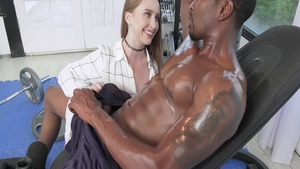 Erotic babe interracial sex at the gym