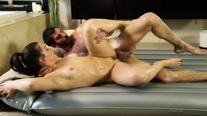 Oiled real fucking with brunette