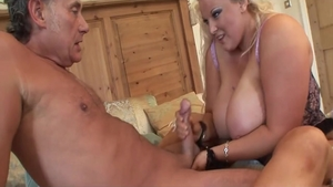 Pussy sex in company with large boobs swinger