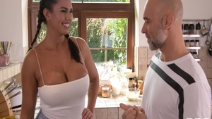 Christian Clay sex with busty Chloe Amour in the kitchen
