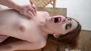 Redhead crazy cumshot outdoors