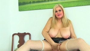 Very huge tits MILF fun with toys