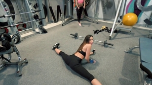 Shaved brunette wishes condom ramming hard in the gym HD