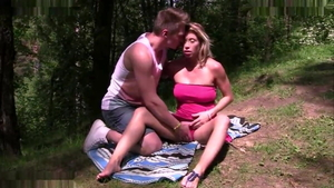Russian sucking cock outdoors