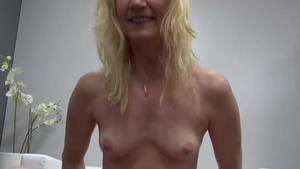 Very small tits blonde hair blowjobs at castings in HD
