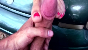 Foot teasing in the company of incredible amateur