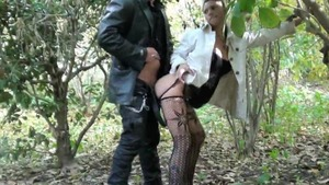 In public spanish in sexy stockings