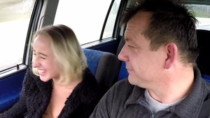 Czech blonde sex for money in a taxi