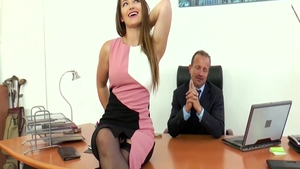 Super sexy & huge tits Dani Daniels ass fucked in office