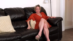 Busty girl fucked in the ass on sofa