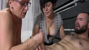 Lustful MILF threesome