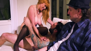Cock sucking scene escorted by sexy rough Penny Pax