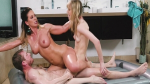 Ebony Cherie Deville nailed by Kenzie Reeves sucking cock