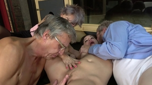 Pussy fucking in the company of young MILF