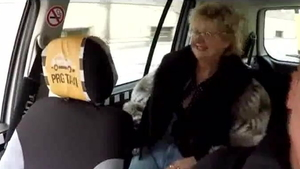 European doggy sex in taxi in HD