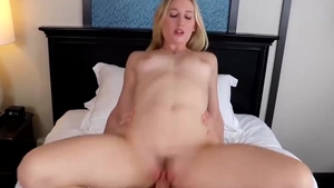 Very small tits blonde Riley Rey hard dick sucking