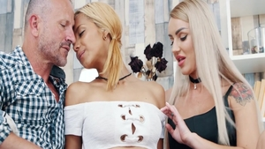 Blonde babe George Uhl together with skinny Veronica Leal