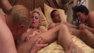 Homemade group sex accompanied by shaved stepmom Sophie Dee