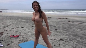 Natural big boobs and busty MILF yoga in public