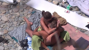 Huge tits brunette lusts voyeur rough sex at the beach HD