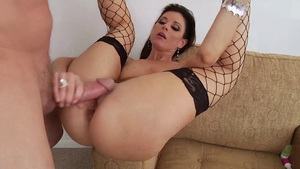 Cougar goes for sex in fishnet in HD
