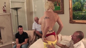 Gangbang in the company of charming mature