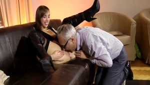 Young brunette Tina Hot wishes for nailed rough wearing boots