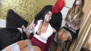 Tied up in office starring very sexy girl wearing dress