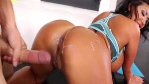 August Taylor in lingerie masturbating with large dildo