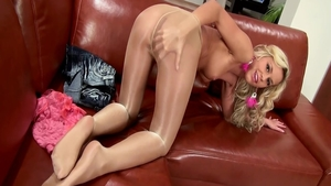Blonde haired ass pounded large tits wearing pantyhose solo