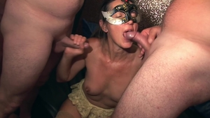 Orgy escorted by erotic blonde haired