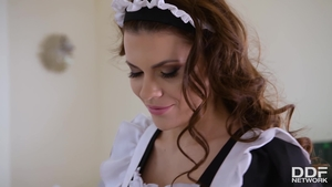 Nailed rough in company with very small tits french maid