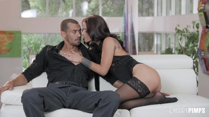 Swallow escorted by tattooed brunette Evelin Stone