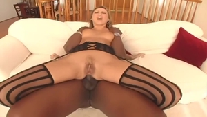 Mandy Bright in tight stockings anal interracial HD